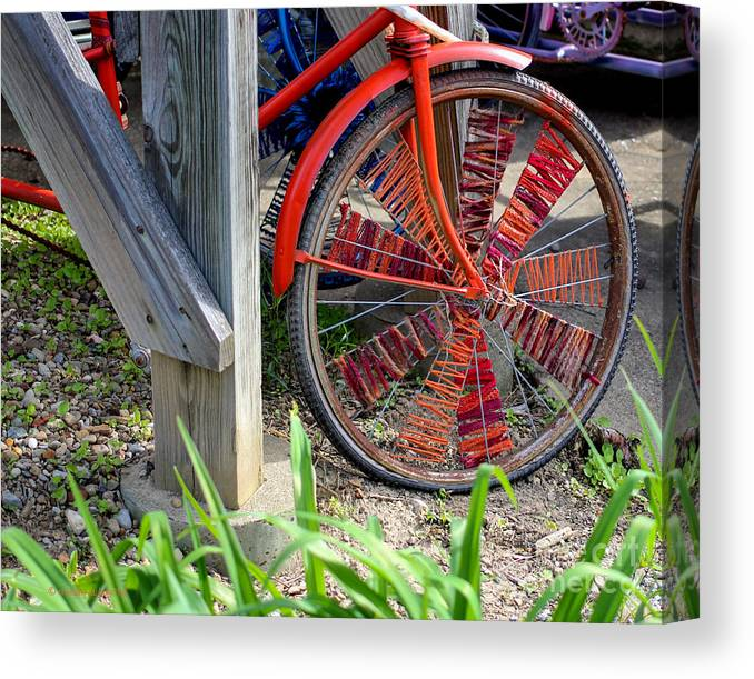 Red Canvas Print featuring the photograph Red Hippie Bike Front Wheel by Coertje Feil