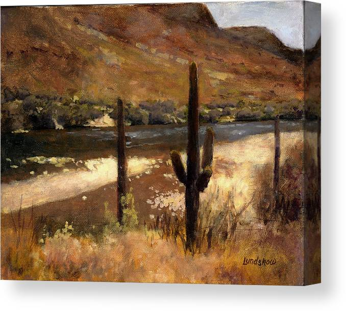 Landscape Canvas Print featuring the painting River And Cactus by Roger Lundskow