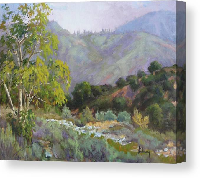 Landscape Canvas Print featuring the painting Spring Sycamore by Sharon Weaver