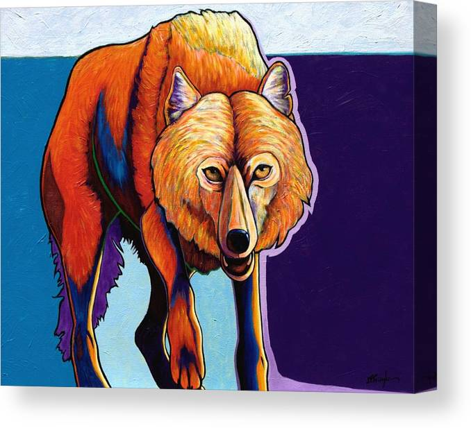 Contemporary Canvas Print featuring the painting Strictly Business - Arctic Wolf by Joe Triano
