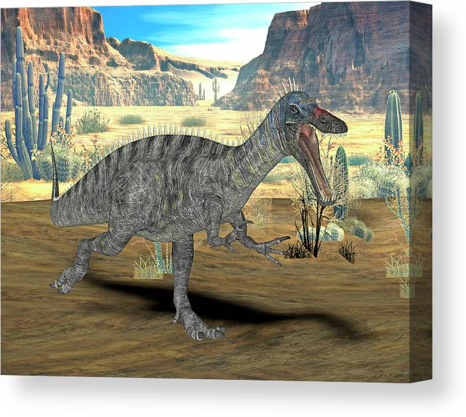 Nobody Canvas Print featuring the photograph Suchomimus Dinosaur by Friedrich Saurer