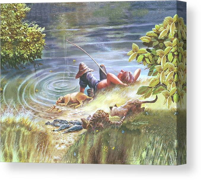 Dog Canvas Print featuring the painting Summer Daze by Nate Owens