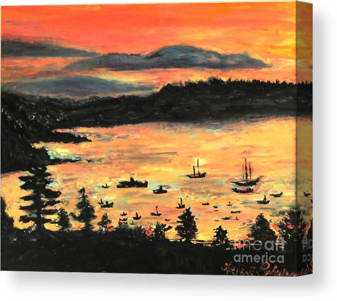 Seascape Canvas Print featuring the painting Sunrise At Bar Harbor Maine by Helena Bebirian