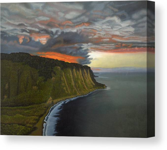Waipio Lookout Canvas Print featuring the painting Sunset In Paradise by Thu Nguyen