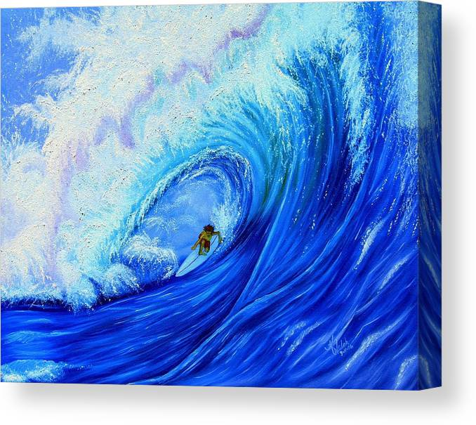Surf Canvas Print featuring the painting Surfing The Wild Wave by Kathern Welsh