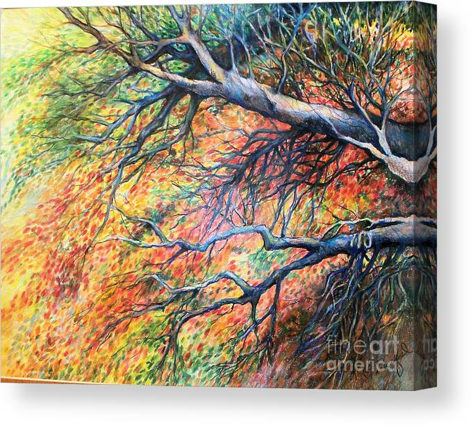 Landscape Canvas Print featuring the drawing Sway Dancing Trees by Linda Shackelford