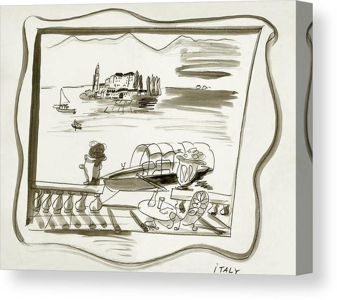 Travel Canvas Print featuring the digital art The Borromean Island On Lake Maggiore In Italy by Ludwig Bemelmans