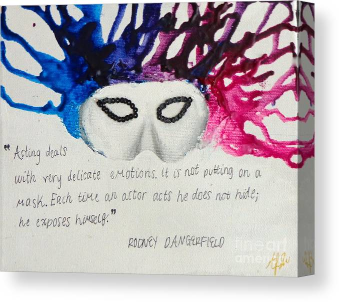 Canvas Print featuring the painting The Mask by Ally Berkowitz