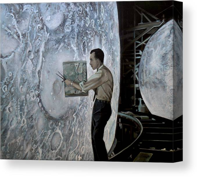 Nasa Canvas Print featuring the painting The Moon Builders - Lunar Orbit And Let-down Approach Simulator. by Simon Kregar