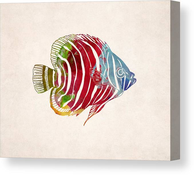 23027b21 Animal Canvas Print featuring the digital art Tropical Fish Drawing by  World Art Prints And Designs