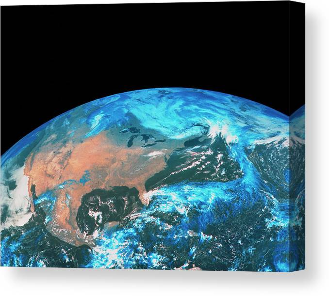 Round Shape Canvas Print featuring the photograph Usa & Mexico From Space by Mda Information Systems/science Photo Library