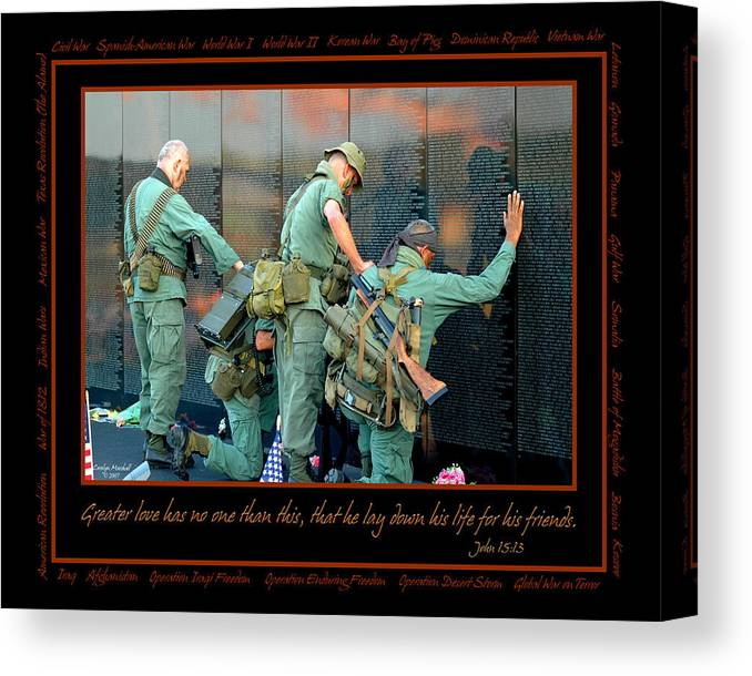 Veterans Canvas Print featuring the photograph Veterans At Vietnam Wall by Carolyn Marshall