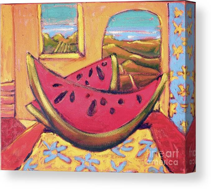 Fruit Canvas Print featuring the painting Watermelon For Two by Diane STEVENETT