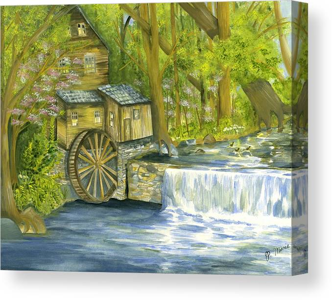 Watermill Canvas Print featuring the painting Watermill In The Woods by Phyllis Muller