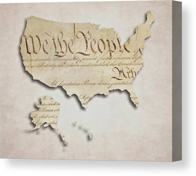 We The People - Us Consution Map Canvas Print / Canvas Art by ... Canvas Map Of World on