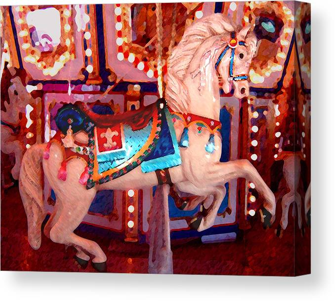 Horses Canvas Print featuring the painting White Carousel Horse by Amy Vangsgard