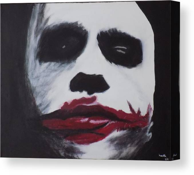 Joker Canvas Print featuring the painting Why So Serious? by Maria Masella