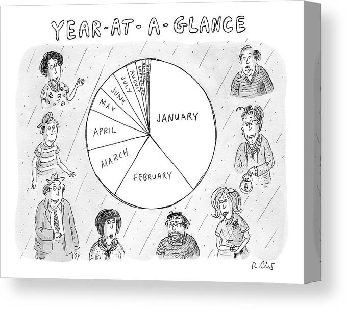 Year At A Glance A Pie Chart Of The Months Canvas Print Canvas