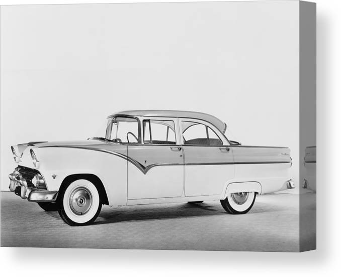 History Canvas Print featuring the photograph 1955 Ford Four-door Sedan Featured by Everett