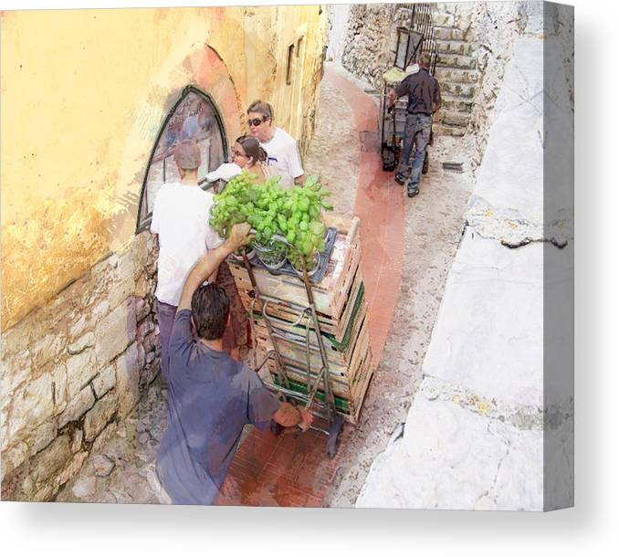 Eze Canvas Print featuring the digital art Basil Delivery In Eze France by Elaine Frink