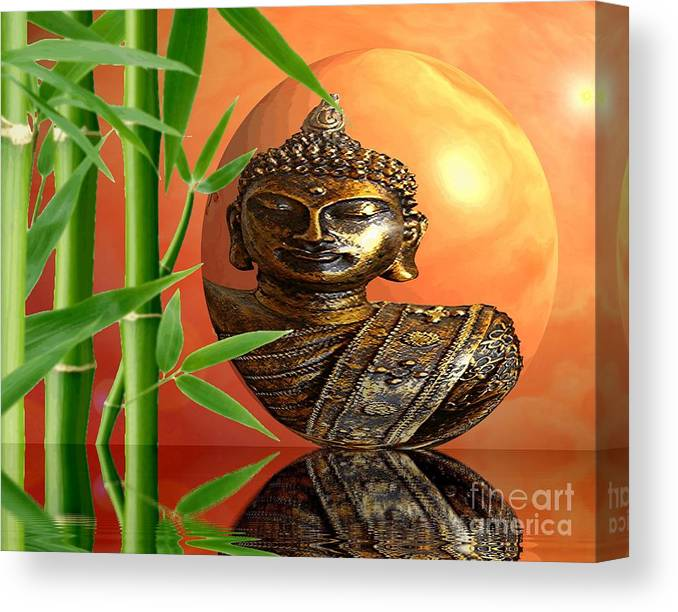 Bamboo Canvas Print featuring the photograph Buddhas Wourld by Sandra Beikirch