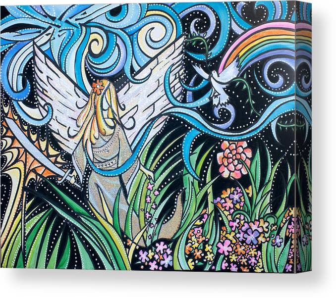 Planting Seeds Canvas Print featuring the painting He's All Around Us by Amber Hadden
