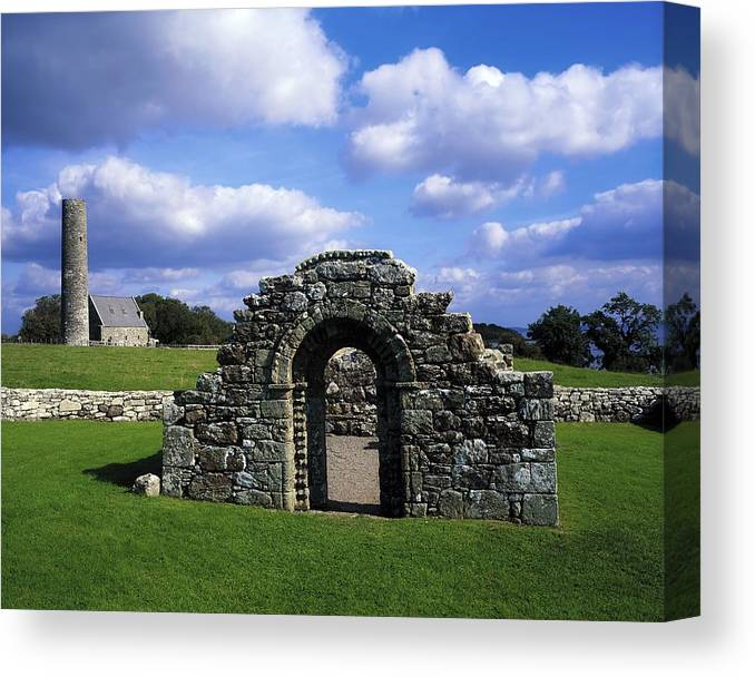 Architectural Heritage Canvas Print featuring the photograph St Brigids Church, Inis Cealtra Holy by The Irish Image Collection