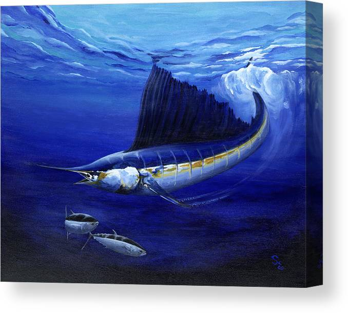 Sailfish Canvas Print featuring the painting The Hunt by Sandra Camper