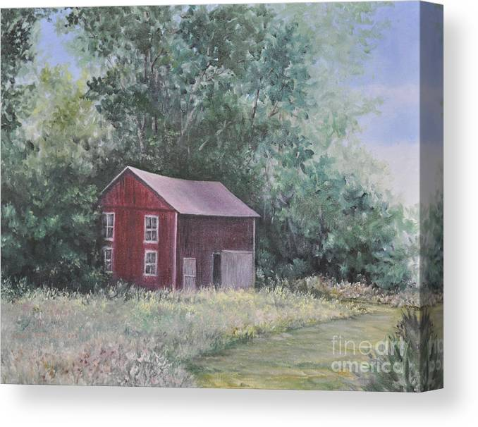 Oil Paintingsof Red Barns Canvas Print featuring the painting Shortys Shed by Penny Neimiller