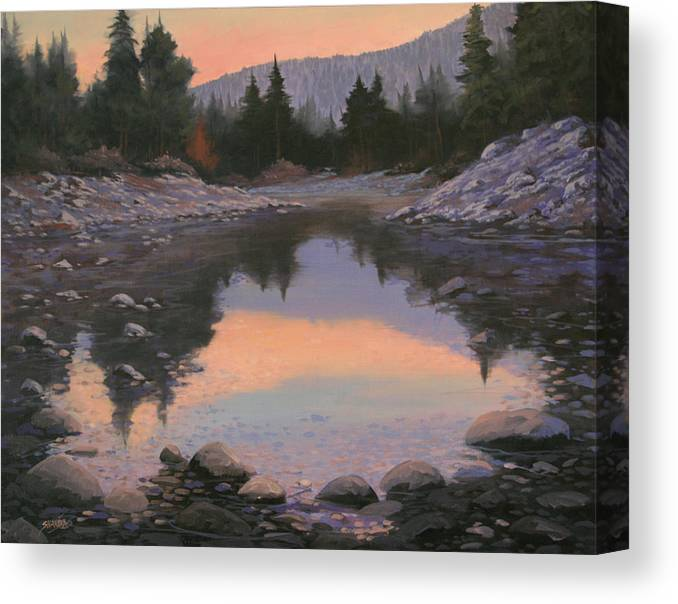 Landscape Canvas Print featuring the painting 080110-2016 Sundown Reflections by Kenneth Shanika