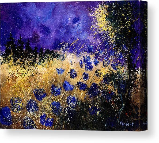 Poppies Canvas Print featuring the painting Blue Cornflowers by Pol Ledent