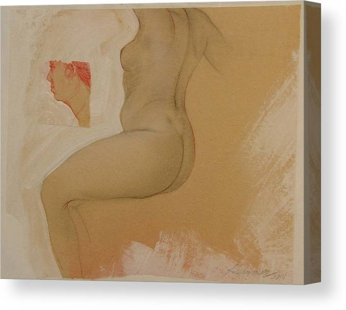 Female Nude Canvas Print featuring the painting Composite Female Nude by Gary Kaemmer