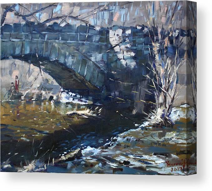Stone Bridge Canvas Print featuring the painting Stone Bridge At Three Sisters Islands by Ylli Haruni