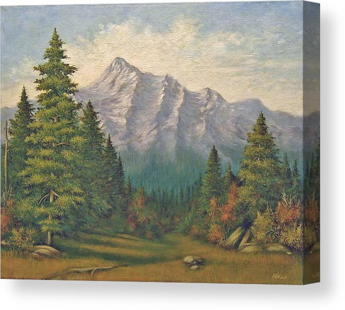 Landscape Canvas Print featuring the painting Teton Meadow by Norman Engel