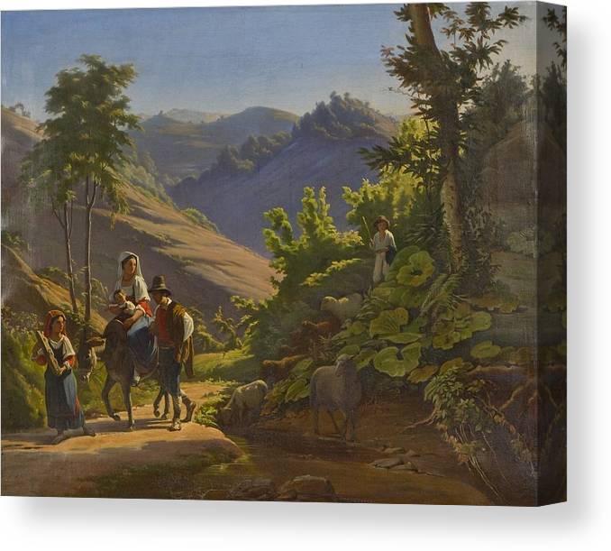 Johan Blackstadius (1816-1898) Canvas Print featuring the painting Landscape by MotionAge Designs