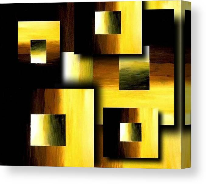 Golden Squares Canvas Print featuring the painting 3d Golden Squares by Teo Alfonso