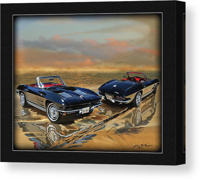 Classic Corvette; Vette;convertible Canvas Print featuring the digital art 63 Vette by John Breen
