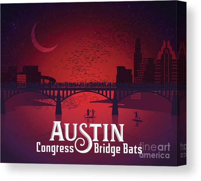 Congress Bridge Bat Images Canvas Print featuring the digital art Austin's Congress Bridge Bats Illustration Art Prints by Dan Herron Studio
