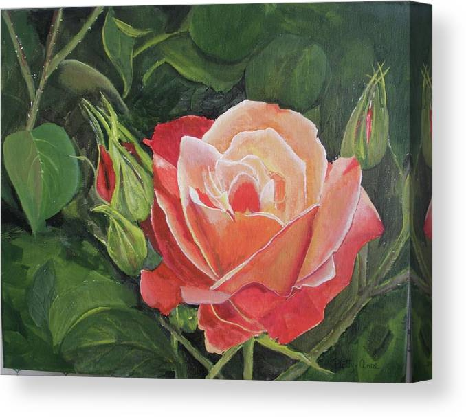Floral Canvas Print featuring the painting A Rose by Betty-Anne McDonald