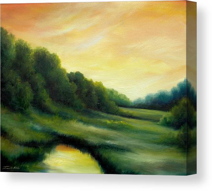 Clouds Canvas Print featuring the painting A Spring Evening Part Two by James Christopher Hill
