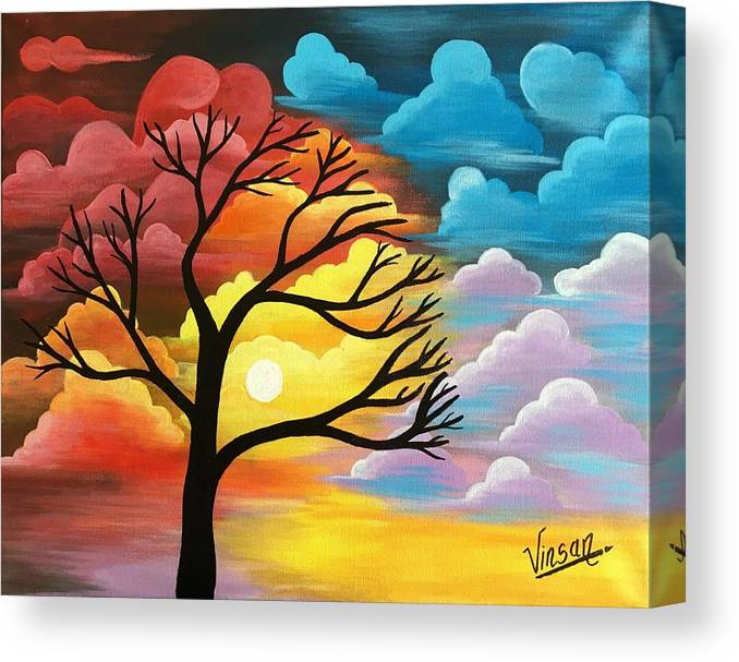 bdc28d35e Abstract Canvas Print featuring the painting Abstract Nature Acrylic  Painting by T Saranraj
