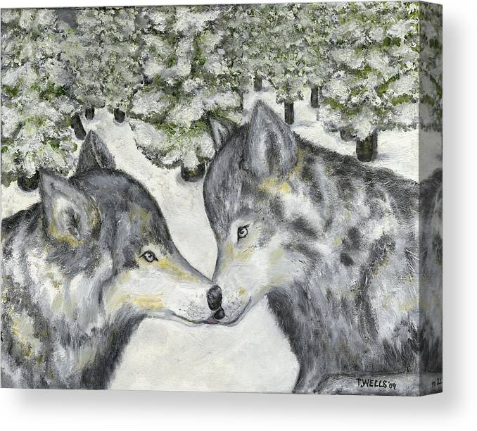 Wolves Canvas Print featuring the painting Affection In The Wild by Tanna Lee M Wells
