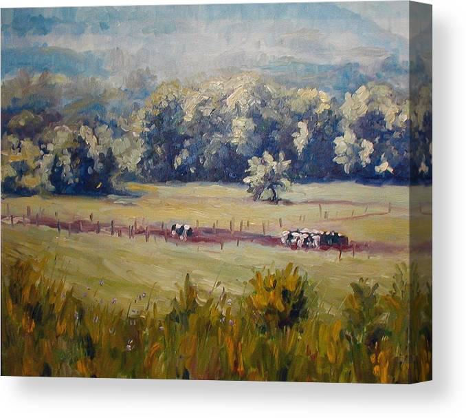 Landscape Canvas Print featuring the painting After Morning Milking by Kathy Busillo