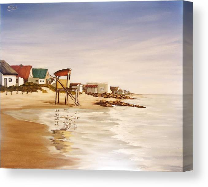 Seascape Sea Reflection Water Seaside Canvas Print featuring the painting Aguas Dulces by Natalia Tejera