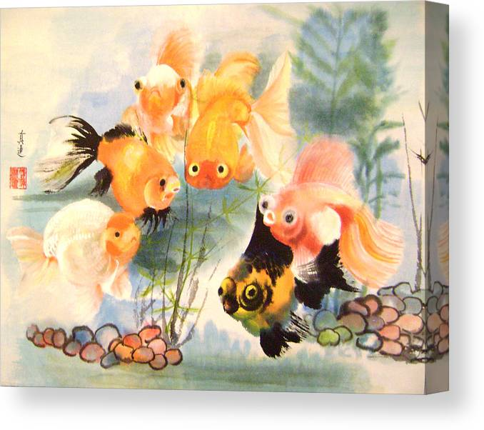 Conceptual Canvas Print featuring the painting All Are Curious by Lian Zhen