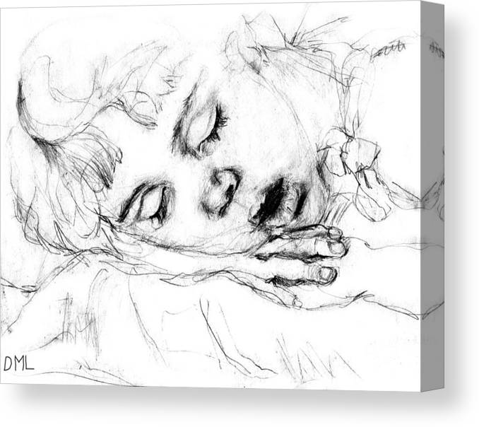 Sleeping Canvas Print featuring the drawing Angela by Diana Ludwig