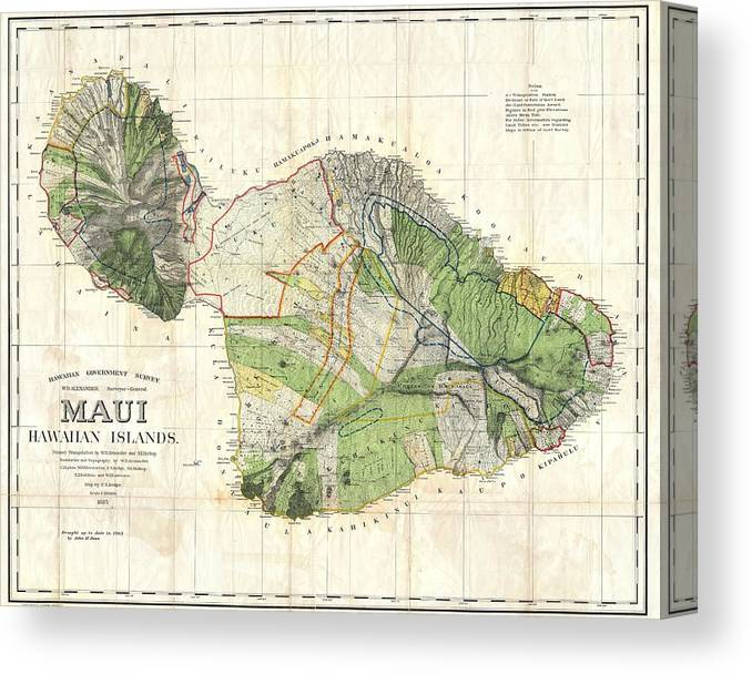 image about Printable Maps of Maui named Antique Maps - Aged Cartographic Maps - Antique Map Of Maui, Hawaii, 1885 Canvas Print