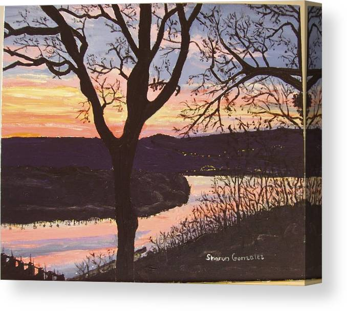 Water Canvas Print featuring the painting Arkansas River Sunset by Sharon De Vore