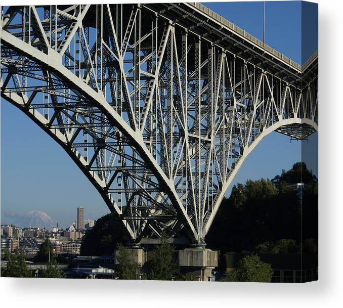 Architecture Canvas Print featuring the photograph Aurora Bridge - Seattle by Sonja Anderson