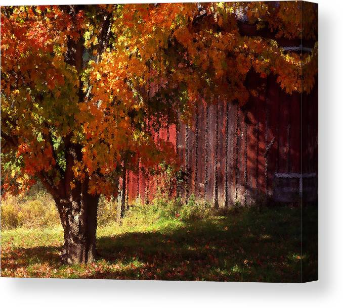 Landscape Canvas Print featuring the photograph Autumn Barn by Barry Shaffer